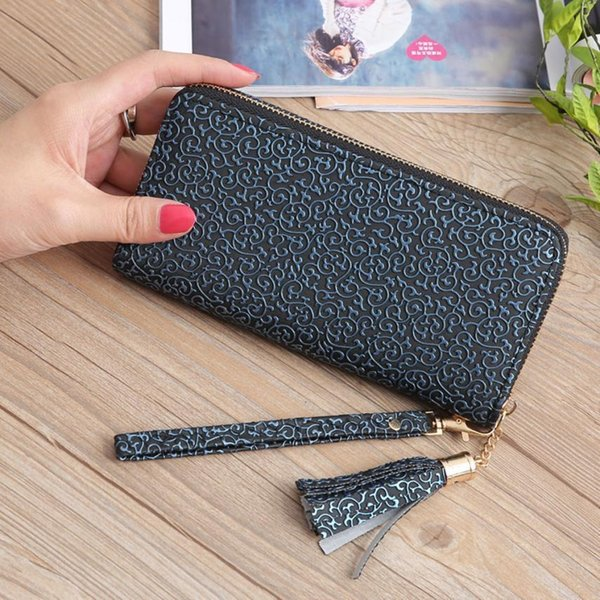 Portefeuille en cuir gland long portefeuille titulaire de la carte téléphone sac à fermeture à glissière poche à monnaie porte-monnaie femme Carteira Feminina F328