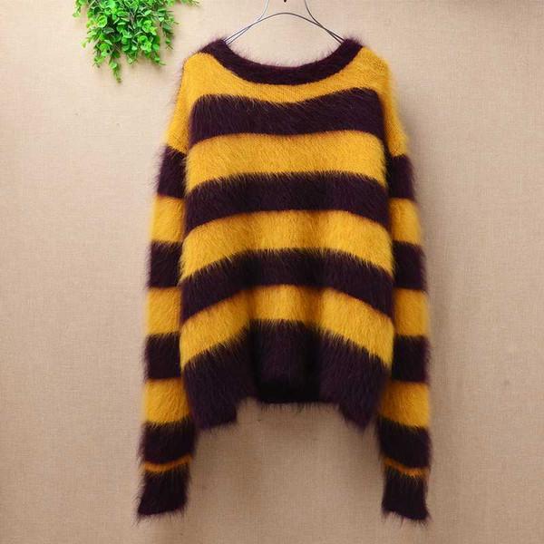 Femme women autumn winter fashion striped plush loose mink cashmere long sleeves angora rabbit fur pullover sweater blouses