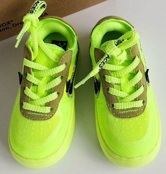 2019 novo Chicago desligar a energia Crianças malha respirável Running Shoes Originals og Todos AirCushion construído em crianças brancas calça o tamanho 28-35