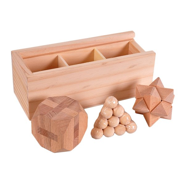 best selling 3-in-One 3D Wooden Brain Puzzle Teaser Kongming Lock for Teens and Adults Includes Storage Box