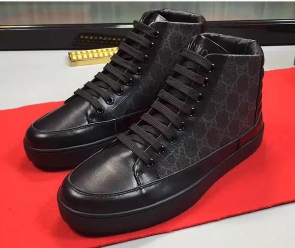 yatou654321 / Italia Moda Zapatillas de deporte Planos con cordones Botines impermeables con cordones Scarpe da uomo Moda Tela de cuero genuino Alto diseño superi