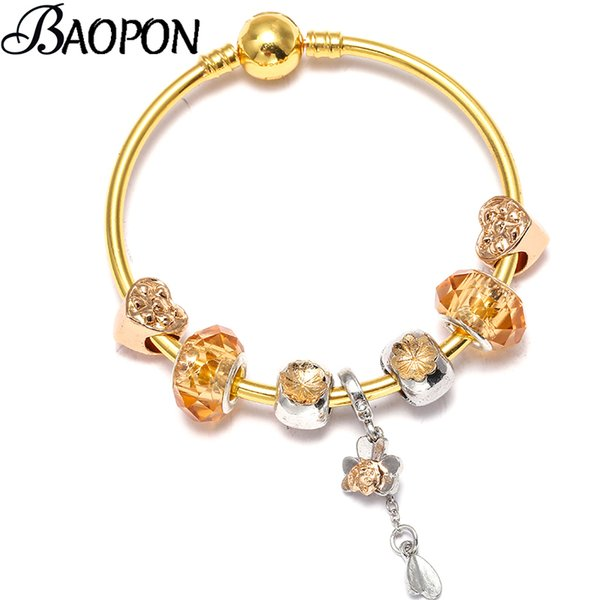 BAOPON Vintage Silver Color Charm Bracelets With Love Heart Beads Crystal Ball Fine Bracelets Bangles For Women Party Jewelry