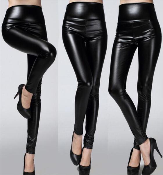 Hot PU Lederhosen weiblichen Frühling und Herbst tragen Leggings dünne Füße vier Stretchhose schwarze Leggings Calzas Mujer Leggins