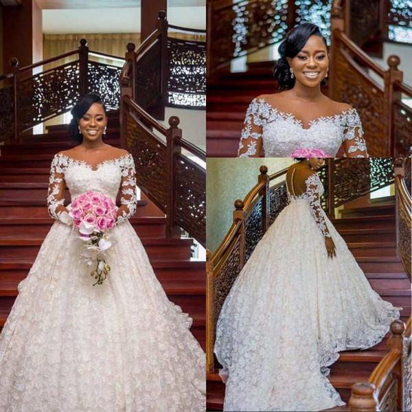 2020 Superbe charme arabe luxe dentelle perlée robe de bal robes de mariée Sheer cou à manches longues Robes de mariée sexy vintage