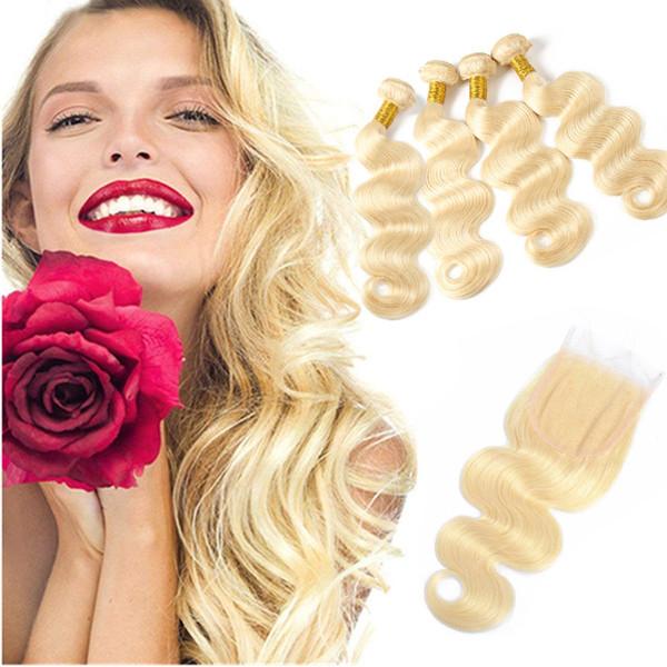 Перуанский Необработанные наращивание волос человеческих волос продавцов Объемная волна 613 Блондинка 4 Связки С 4X4 Кружева Закрытие Натуральный Цвет 5 шт. / Лот