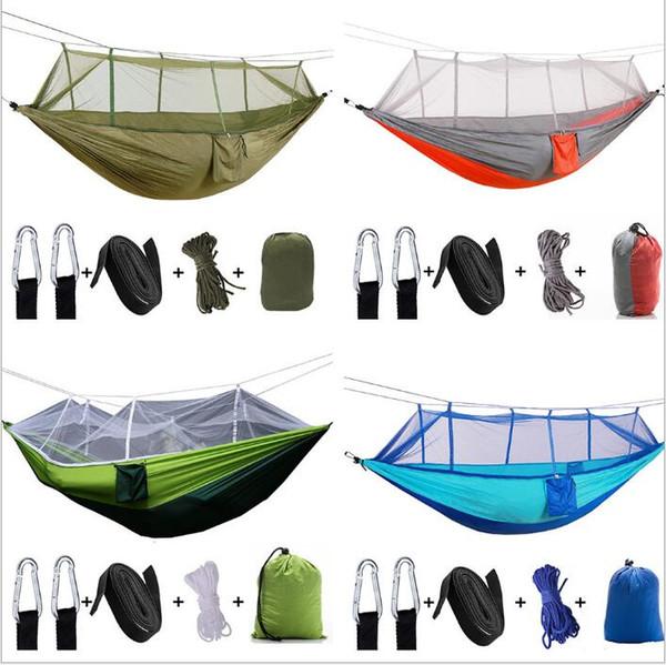 Hamak Açık Çift kişi Paraşüt Taşınabilir Handy Kumaş Cibinlik Alan Yürüyüş Kamp Çadır Bahçe Salıncak Asılı Yatak 260 * 140 B5078