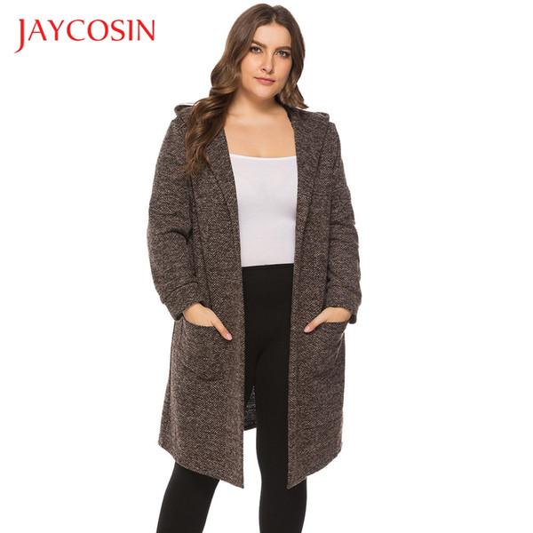 JAYCOSIN Mujeres de gran tamaño Top Cardigan Bolsillo Casual Otoño e invierno de color sólido manga larga felame más el tamaño Chaqueta caliente