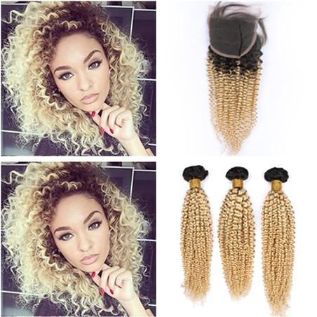 Blonde Ombre Kinky Curly Peruvian Hair 3Pcs Bundles with Closure Curly #1B/613 Blonde Ombre Human Hair 4x4 Front Lace Closure with Weaves