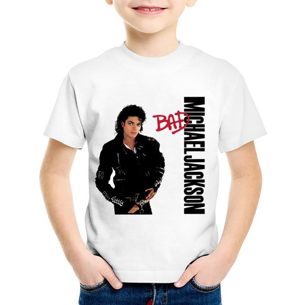Children Fashion Print Michael Jackson Bad T-shirts Kids Cool Summer Tees Boys/Girls Rock N Roll Star Tops Baby Clothes,HKP5145