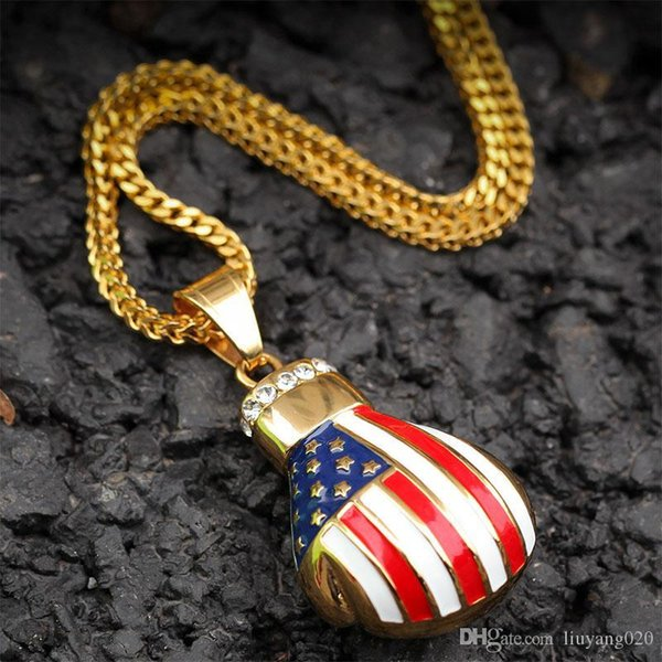 Bandeira do Luvas Estados Unidos Boxe colar pingente charme Livre Corda Corrente de Ouro Cor Iced cúbica de Homens Zircon Hip hop judeu
