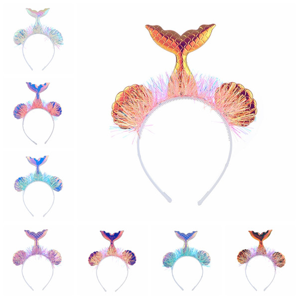 9 inch Baby Mermaid Hair Sticks cartoon Sequin Headband children Girls Fish tail designer hairband Kids Hair Accessories 8styles GGA2163