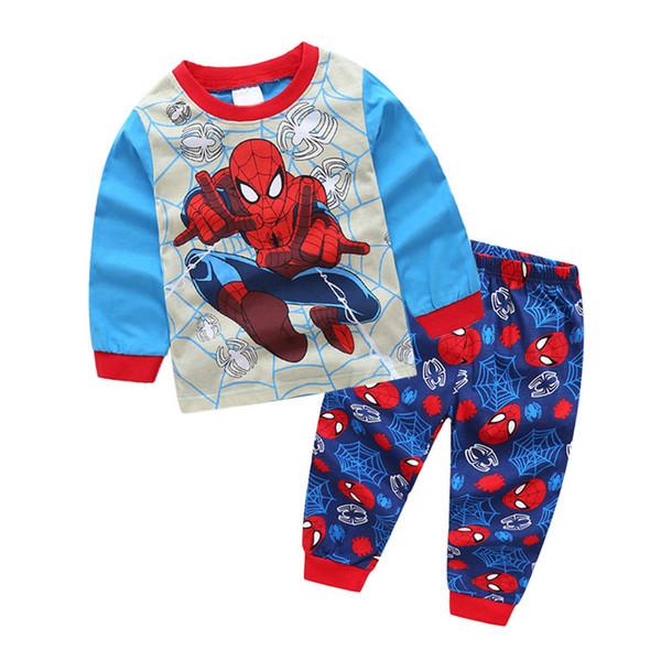 2019 Spiderman Batman Captain America Kids Clothes Baby Short Sleeve Cotton T-shirt Childrens colthing Sets TC190620W 20PCS