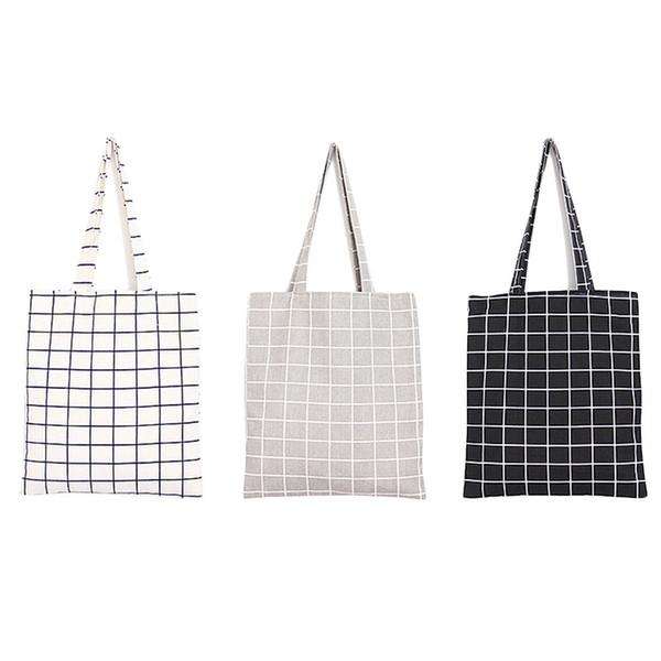 Cheap Fashion Female Canvas Beach Bag Plaid Casual Tote Women Canvas Handbag Daily Use Single Shoulder Bags