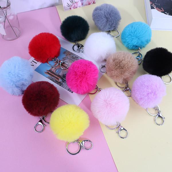 best selling 15 Colors 8CM Fluffy Faux Rabbit Fur Ball Keychains Women Girls Car school Bag Key Ring Cute Pompom Key Chain Jewelry accessories