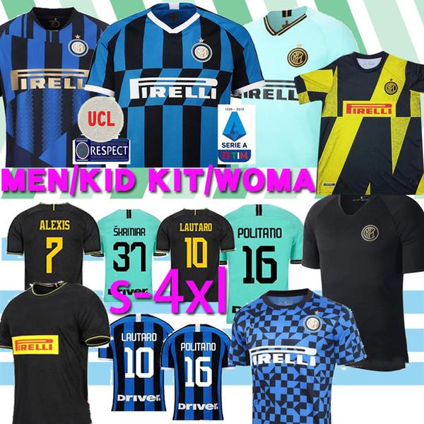 Thaïlande ALEXIS Lukaku LAUTARO Škriniar Inter 2019 2020 maillot de football Milan Calcio GODIN BARELLA maillots 2019 chemises haut de football 2020