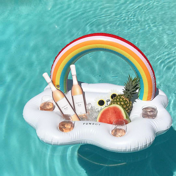 top popular Inflatable Drink Cup Holder Rainbow Coconut Tree Pool Beer Fruits Holder PVC Water Party Inflatable Toys 050602 2021