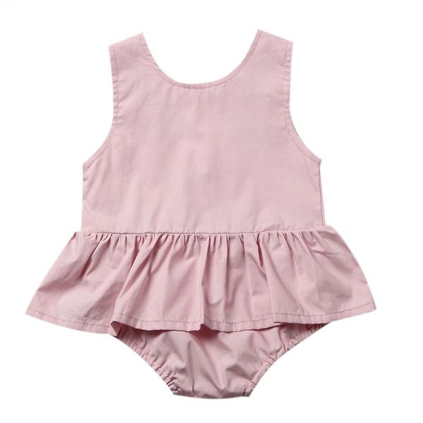 Infante appena nato bambini delle neonate vestiti rosa manica Tutu pagliaccetto Pulsante Indietro tuta prendisole Outfits
