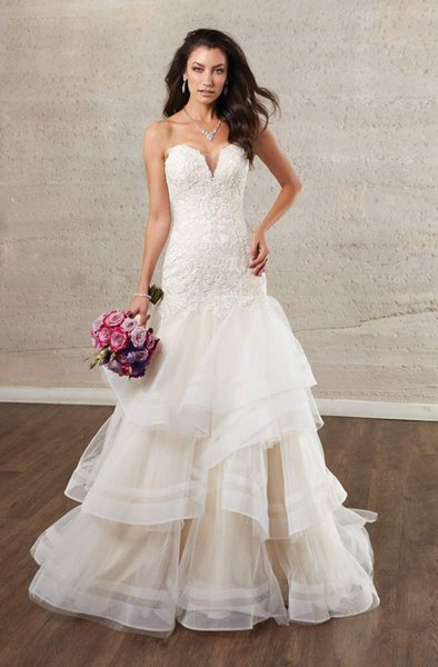 Mermaid Wedding Dresses with Cascading Skirts Plunging Neckline Lace Wedding Dress Bridal Gowns Zipper with Button Bride Formal Gown