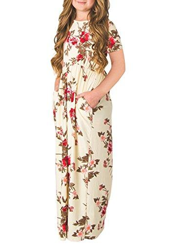 STKAT Girl's Casual Short Sleeve Floral Print Empire Waist Long Maxi Dress with Pockets