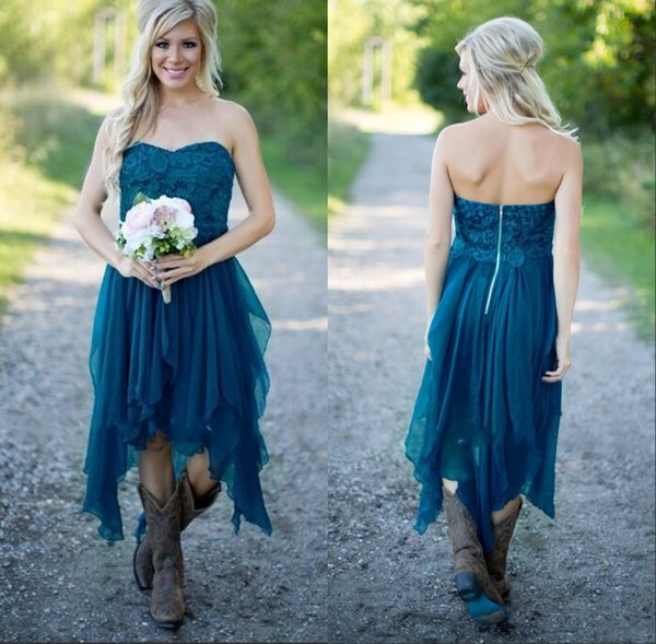 Teal High Low Country Style Bridesmaid Dresses 2019 Strapless A Line Vintage Lace Chiffon Maid Of Honor Gowns Formal Party Gowns for Wedding