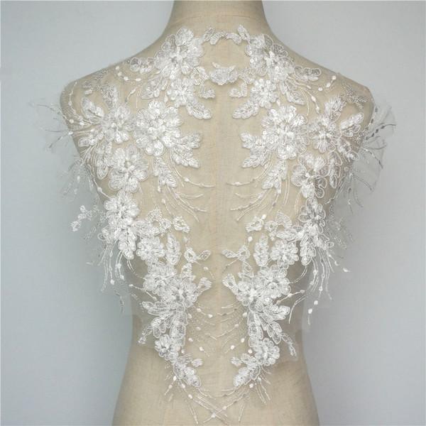 2 ADET Beyaz Çiçekler Püskül Düğün Aplikler Pullu Dantel Trimler Kumaş Yaka Örgü Işlemeli Gelin Elbise DIY Dekorasyon Için Yamalar Dikmek