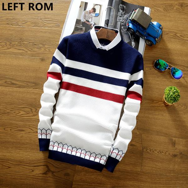 ЛЕВЫЙ ROM 2018 осень моды свитер хеджирования свитер Slim мужчин хлопка рубашки воротник куртки случайные полосатый печати круг пальто