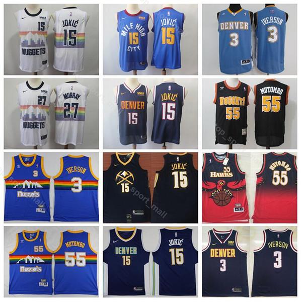3a490254cec6 Denver Basketball Nuggets Nikola 15 Jokic Jersey Men Edition City 27 Jamal  Murray 55 Dikembe Mutombo