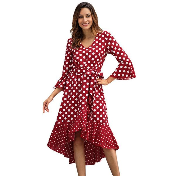Women Designer Maxi Dresses Clothes Dresses Sexy Short Dress Women Jumpsuits Rompers Spring New Wave Point Long Sleeve Large Size Dress