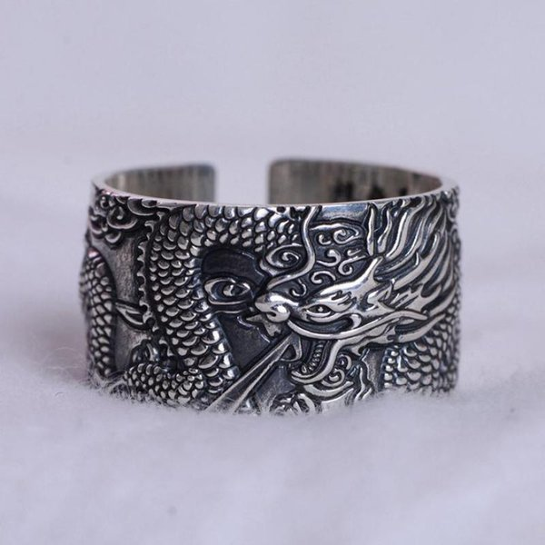 Real 999 Pure Silver Mens Biker Rings With Flying Dragon Vintage Punk Style Heart Sutra Engraved Buddhism Animal Jewelry C19042001