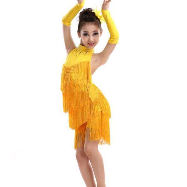 Kids Tasseled Ballroom Latin Dancewear Girls Kids Children Fringe Competition Latin Skirt Salsa Samba Dance Salsa Dresses