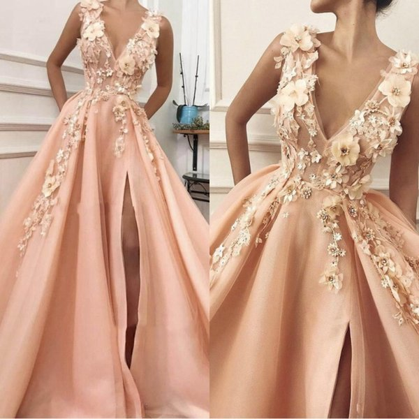 Peach 2019 A-line V Neck High Slit Flowers Evening Dresses Long Lace Prom Gown Formal Evening Party Dress