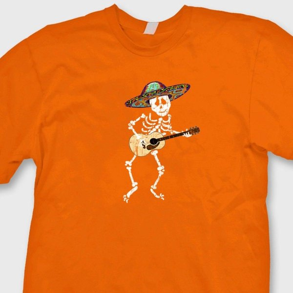 SKELETON Playing Guitar Funny Mexican Sombrero T-shirt Halloween Tee Shirt Funny free shipping Unisex tee