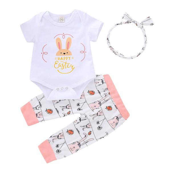 Новорожденных девочек Пасха INS прекрасный кролик ползунки 2019 новых новорожденных с коротким рукавом комбинезон + брюки + резинка для волос детская одежда B11