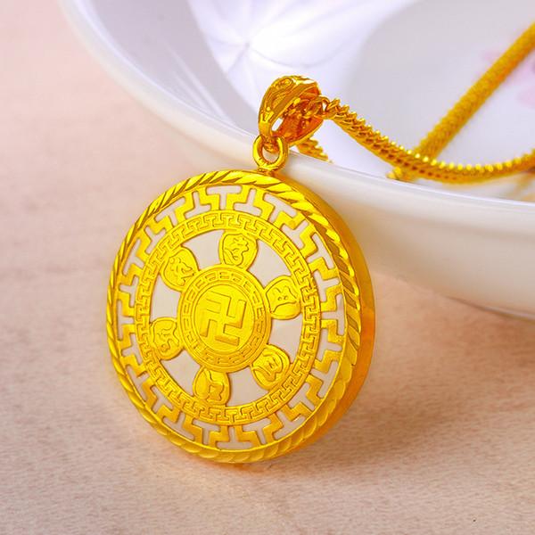Оптовое золото Hotan Yuzu Золотое мирное опускающееся ожерелье с шестью словами правдивых слов для мужчин и женщин