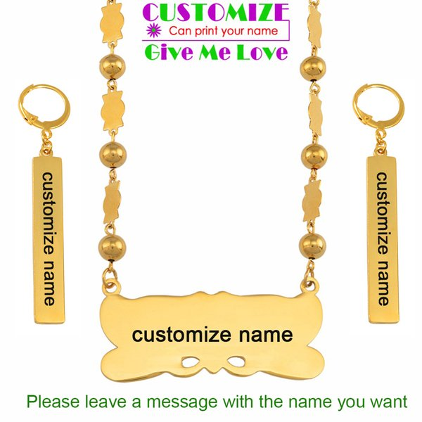 wholesale Customize Name Pendant Beads Necklace Earrings Sets Marshall Sets Stainless Steel Custom Jewelry Micronesia Palau #059821