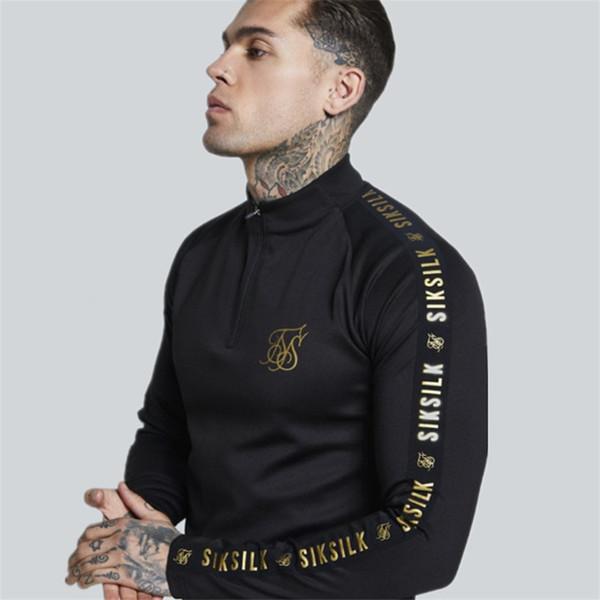 2019 New Fashion Mens Stretch Tshirt tinta unita dolcevita High-elastico manica lunga T-Shirt da uomo Slim Menst-shirt casual SH190701