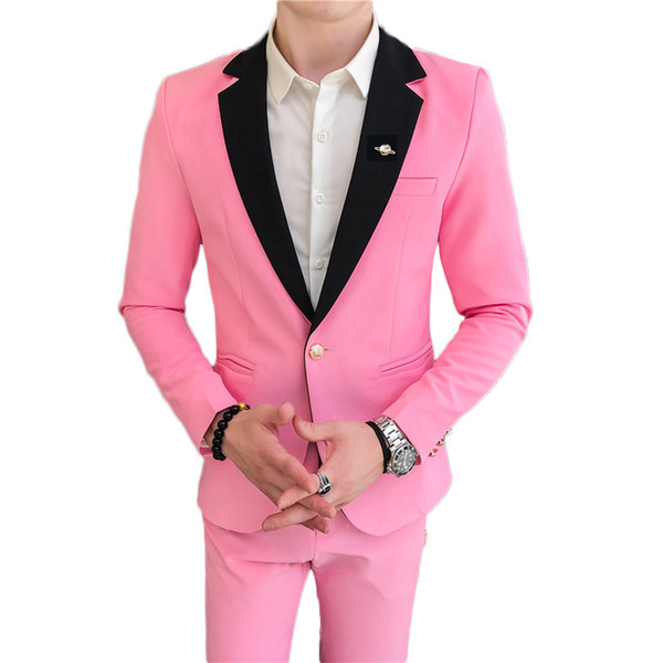 Noble luxury men's two-piece set (jacket + pants) teen male dress suit 2019 Red white black blue Blazer S-XXXL