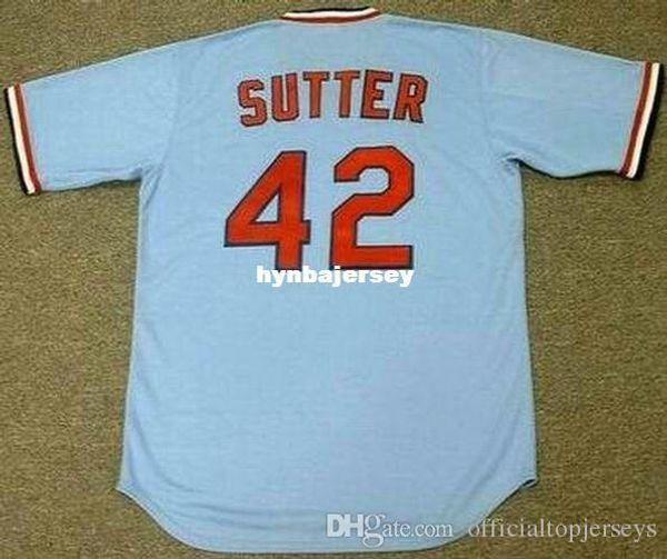Barato personalizado BRUCE SUTTER St. Louis cosido 1982 Majestic Cooperstown Away Jersey de béisbol Retro Hombres Jerseys Running