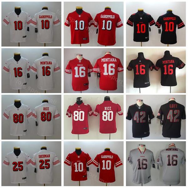 8739a7872 Youth San Francisco Football 49ers Jerseys Kids 10 Jimmy Garoppolo 25 Jimmie  Ward 16 Joe Montana 42 Ronnie Lott 80 Jerry Rice
