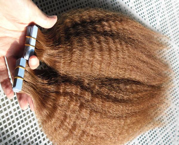 Tape em extensões do cabelo humano italiano / grossa yaki 40pcs Kinky reta Pele trama Cabelo Humano