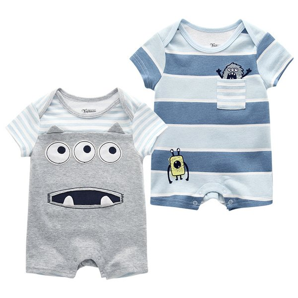 Baby Boy Clothes Rompers Newborn Infant Baby Girl Summer Roupas De Bebe Short Sleeve Jumpsuits 0-9m Baby Pajamas Clothing J190427