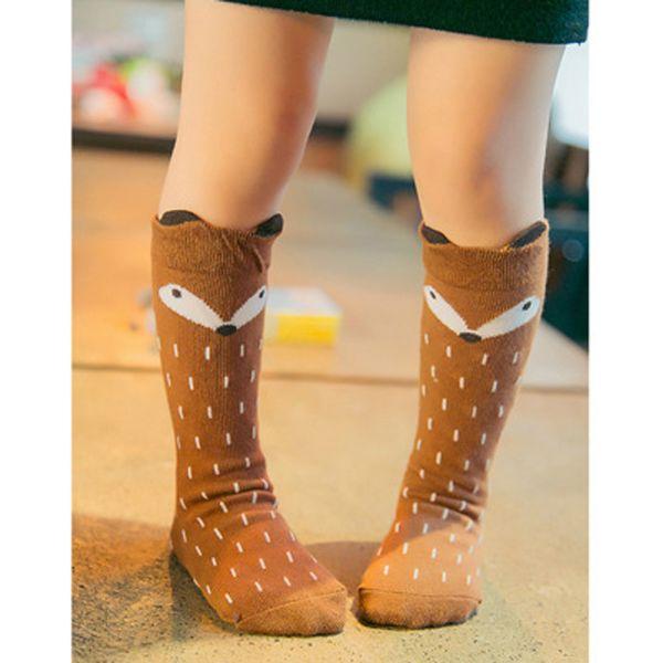 Leg Warmers Newborn Toddler Knee High Socks Baby Boys Girls Fox Socks Soft Anti-slip Cotton Cartoon Animal Cat For Infant