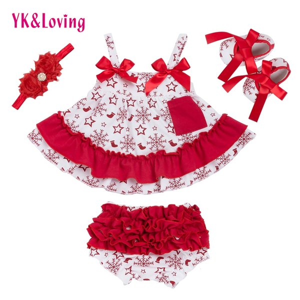 Sommer Stil Weihnachten Baby Schaukel Top Baby Mädchen Kleidung Set Rüschen Outfits Bloomer Stirnband Neugeborene Mädchen Kleidung Sets Y18120303