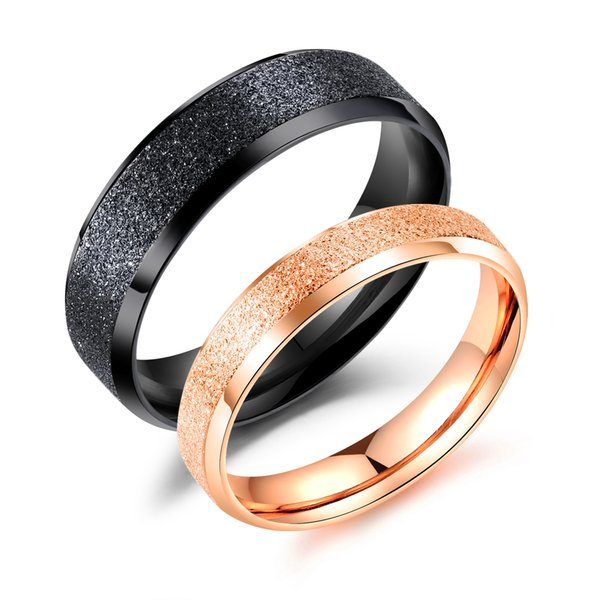 VICHOK 316L Stainless Steel Sand Surface Couple Rings For Women Men Lover Wedding Engagement Party Best Gift Fine Jewelry Band Wholesale