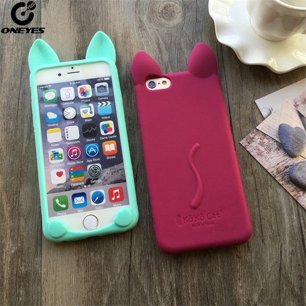Fashion Cute Case For iphone 5s 5 se 6 6s 7 8 Plus Soft Silicone Cartoon Cat ear Phone case For iphone 7 case For iphone X capa