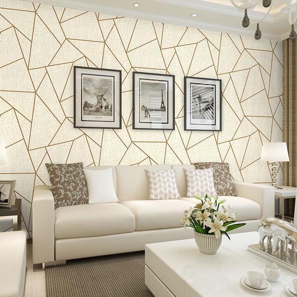 Nordic Fashion Schwarz Grau Geometrische Linien Tapete 3d Beflockung für Wohnzimmer Wohnkultur Weißes Vliestapete