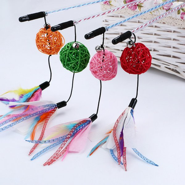 Multicolor rattan ball funny cat rod with bells with color strip tail transparent pole stick toy 50CM lightweight interaction