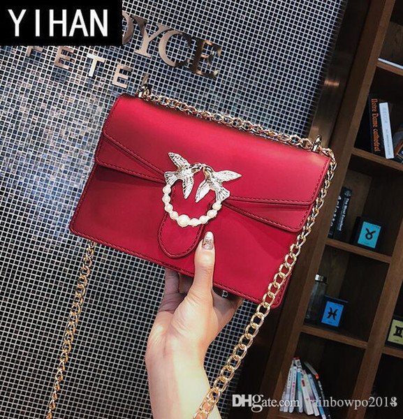 Factory independent brand women bags summer new candy candy jelly bag lovely sweet pure color swallow chain bag fashion pearl shoulder bag