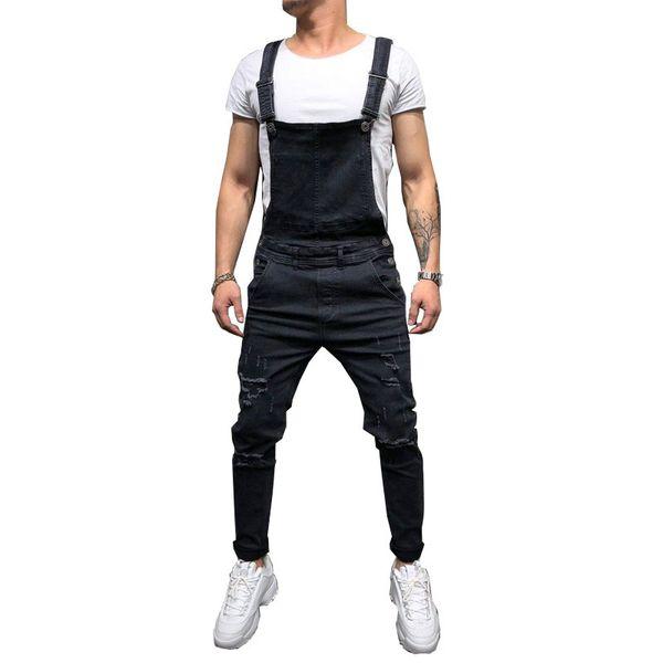 Mode Männer Zerrissene Jeans Overalls Hallo Straße Distressed Denim Latzhose Für Mann Hosenträgerhose Größe S-xxxl C19042101