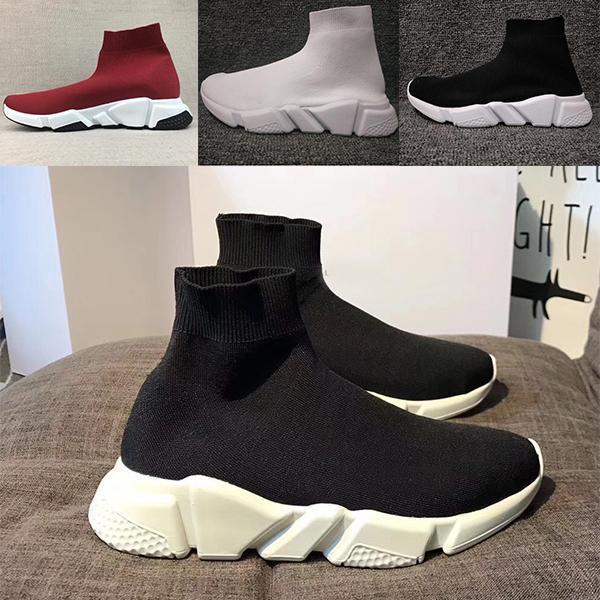 2019 de lujo del calcetín del zapato velocidad de punto Formadores Casual zapatillas de deporte Speed Trainer calcetín raza negra Moda Calzado Hombres Mujeres Zapatos Casual D09 Todo ROJO